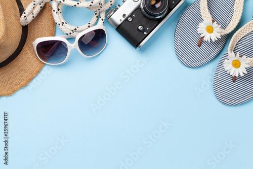 Fototapeta Summer vacation items and accessories obraz na płótnie