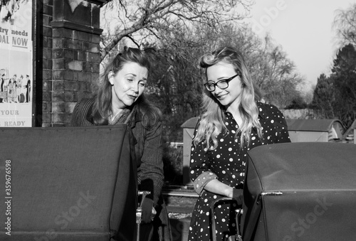 A portrait of a two beautiful ladies during a 1940s themed shoot at Quorn in February 2019 Canvas Print