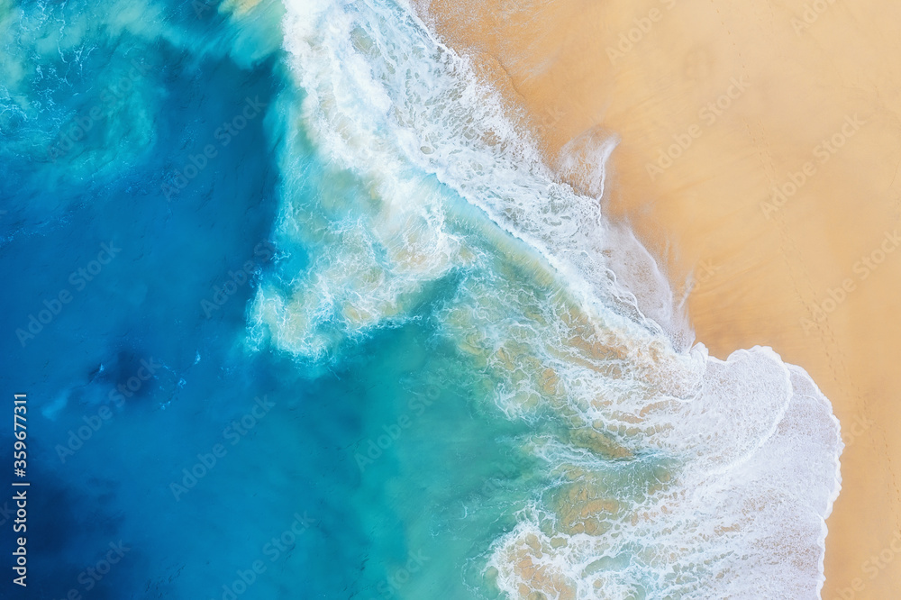 Fototapeta Coast as a background from top view. Turquoise water background from air. Summer seascape from drone. Nusa Penida island, Indonesia. Travel - image