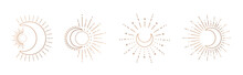 Sun And Moon Line Art Clipart....