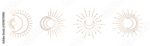 Foto Sun and moon line art clipart. Outline sun logo, moon tattoo.