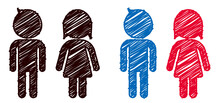 Male And Female, Gender Symbol, Mark, Icon, Sign Of Restroom Or Toilet