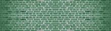 Dark Green Painted Brick Stone Masonry Wall Texture Background Wallpaper Panorama Banner