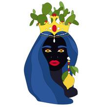 Traditional Sicilian Vase With Moor Head And Cacti. Moorish, Woman Face. Italy, Sicily, Palermo, Catania, Taormina, Siacusa. Vector Illustration Of Sicilian Symbol, Souvenir. Postcard, Print Design.