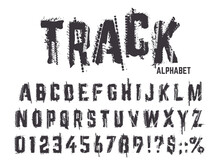 Tire Tracks Alphabet. Grunge T...