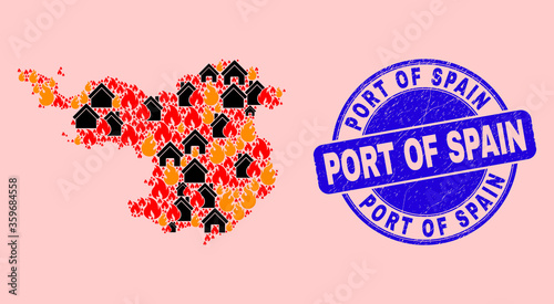Fire and houses combination Gerona Province map and Port of Spain corroded stamp seal. Vector collage Gerona Province map is done with randomized burning cities.