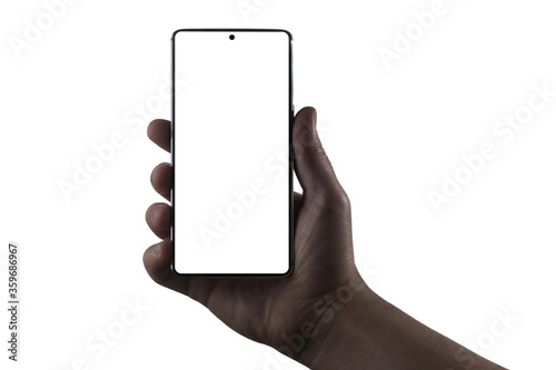 Hand holding phone. Silhouette of male hand holding bezel-less smartphone isolated on white background. Screen is cut with clipping path. © Sergey Peterman