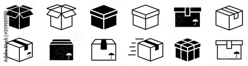 Carta da parati Box simple icon collection