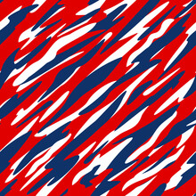Red, White And Blue Patriotic Abstract Diagonal Camo Style Seamless Repeating Pattern Vector Illustration