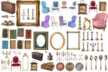 Superset Of Beautiful Antique Items, Picture Frames, Furniture, Silverware. Retro. Vintage. Isolated On White Background.