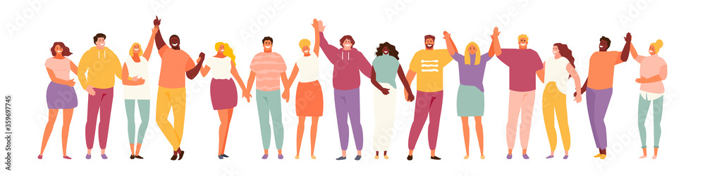 Fototapeta Group of smiling people holding hands. Multicultural and social unity, friendship and support. Vector characters on a white background