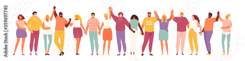 Group of smiling people holding hands. Multicultural and social unity, friendship and support. Vector characters on a white background