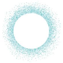 Round Blue Frame On White Background