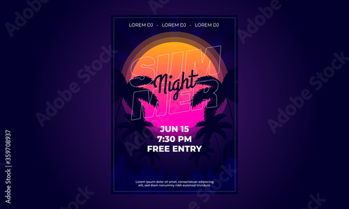 Fototapeta Summer, pool, event, beach party flyer template   obraz