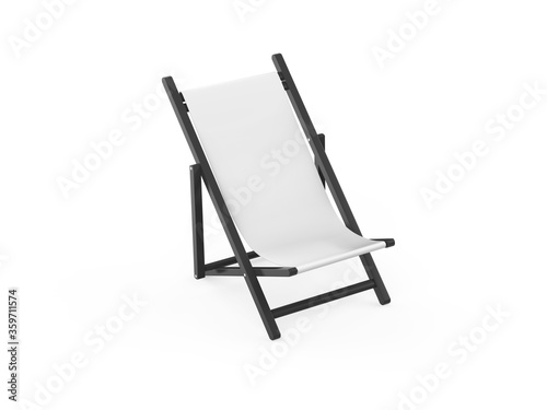 Folding  deckchair or beach chair mock up on isolated white background, 3d illus Canvas Print