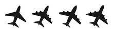 Set Airplane Flat Icon. Vector...
