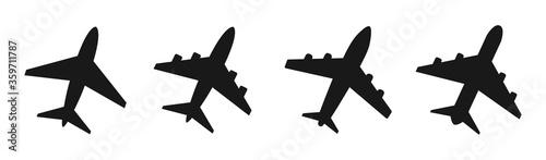 Photo Set airplane flat icon. Vector illustration