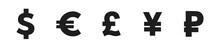 Dollar, Yuan, Euro, Pound Logo Signs. Vector Illustration