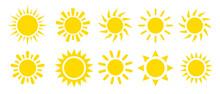 Yellow Sun Icon Vector Set