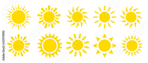 Fototapeta Yellow sun icon vector set obraz