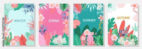 Fotografie, Obraz Vector set floral background, Nature background,Four seasons, template, banner, cover, templates, postcard