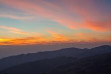 Beautiful Sunset On Nodule Rock Field 's Name Lan Hin Pum Viewpoint Mountain At Phu Hin Rong Kla National Park In Thailand