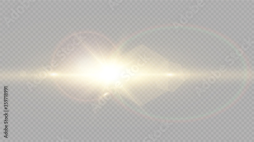 White glowing light explodes on a transparent background Canvas Print