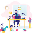 Remote work. Businessman at workplace with children. Dad can't work productively, children interfere with concentration. Multitasking concep