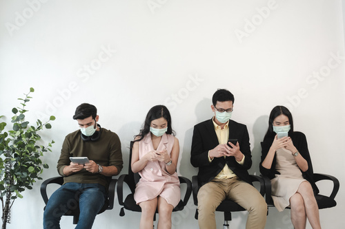 Business work wait for interview in office interview in office with face mask so Fototapet