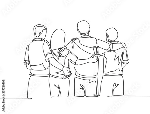 Fototapeta Single continuous line drawing about group of men and woman from multi ethnic standing and hugging together to show their unity bonding