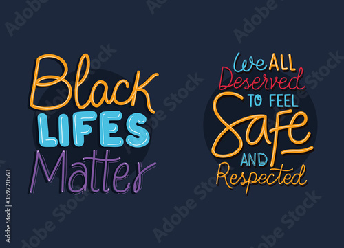 Black lives matter phrases design of Protest justice and racism theme Vector ill Wallpaper Mural