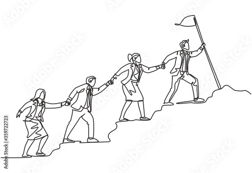 Obraz na płótnie One continuous line drawing of male and female team member stick together follow their leader who holds flag to reach the top of the hill