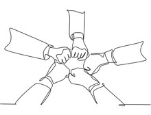 One Continuous Line Drawing Group Of Young Male And Female Business People Unite Their Hands Together To Form A Five Star Shape. Unity Teamwork Concept Single Line Draw Design Vector Illustration