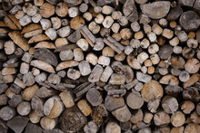 Close-up Brown Woodpile
