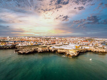 Aerial View Of Peniche With Th...