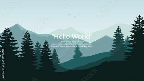 Fototapeta Premium vector banners with polygonal landscape illustration background obraz na płótnie