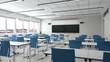 Leeres Klassenzimmer einer Schule mit Schreibtischen