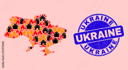 Fire disaster and houses collage Ukraine map and Ukraine rubber seal Canvas-taulu
