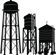 Water Tower Silhouette Vector ...