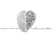 Heart Vs Brain Continuous Line...