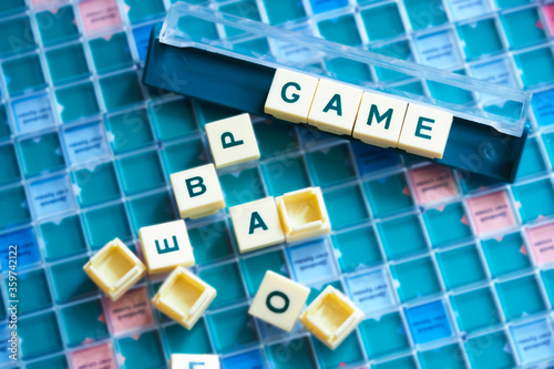 Concept of board games. Inscription Game from letters Canvas Print