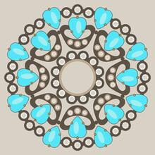 Jewelry Design. Round Floral M...