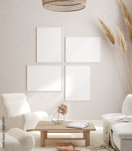 Obraz Mockup frame in interior background, room in light pastel colors, Scandi-Boho style, 3d render - fototapety do salonu