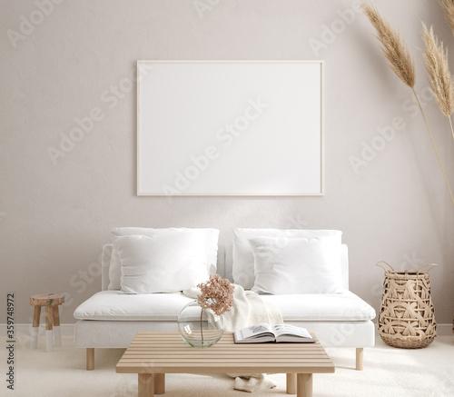Fototapeta Mockup frame in interior background, room in light pastel colors, Scandi-Boho style, 3d render obraz