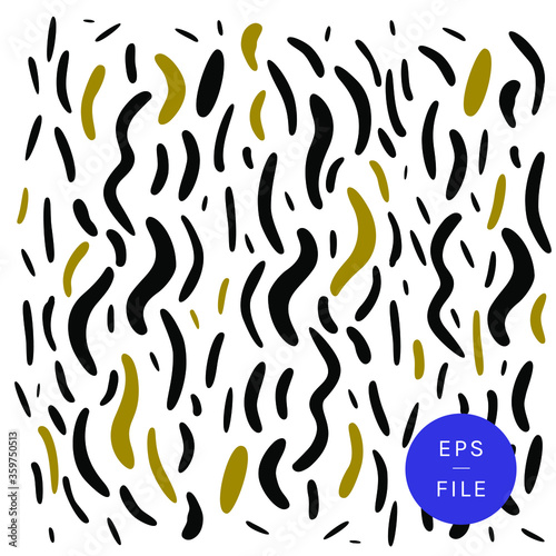 Trendy animal print, zebra print black, gold accents, art deco flair hipster vector pattern Wallpaper Mural
