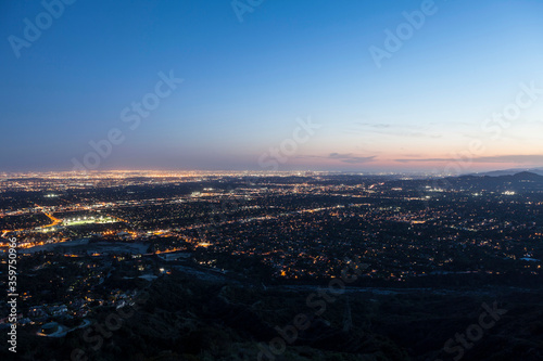 Dusk mountaintop view of Los Angeles, Pasadena and Glendale in Southern California. #359750966