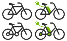 Bicycle Vector Icons - Regular And Electric Versions.