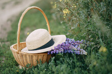 Wicker Basket With Hat And Lup...