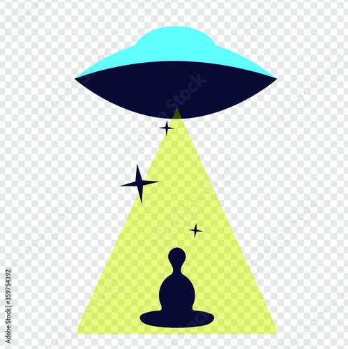 UFO vector illustration abducting a person meditating Canvas Print