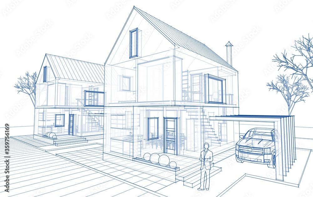 Fototapeta townhouse architectural sketch 3d illustration
